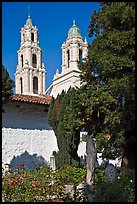 Bell towers of the Basilica seen from the Garden, Mission San Francisco de Asis. San Francisco, California, USA