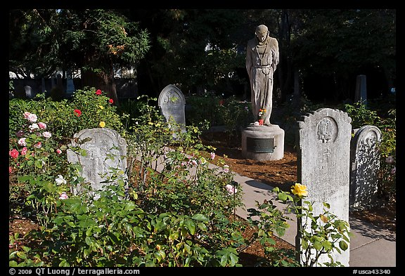 Gravestones and statue, Mission Dolores. San Francisco, California, USA