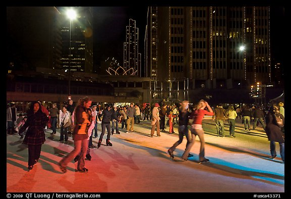 Holiday ice rink at night, Embarcadero Center. San Francisco, California, USA