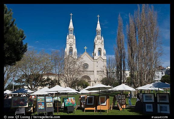 Art fair on Washington Square Park, North Beach. San Francisco, California, USA (color)