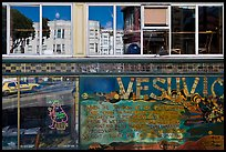 Beatnik area mural and windows with Vesuvio icon and many reflections, North Beach. San Francisco, California, USA ( color)