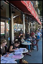 Cafe outdoor sitting, Little Italy, North Beach. San Francisco, California, USA ( color)