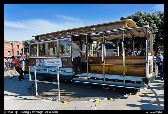 Cable car being turned at terminus. San Francisco, California, USA (color)