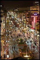 Third Street Promenade from above, night. Santa Monica, Los Angeles, California, USA (color)