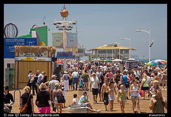 Summer crowds on Santa Monica Pier. Santa Monica, Los Angeles, California, USA (color)