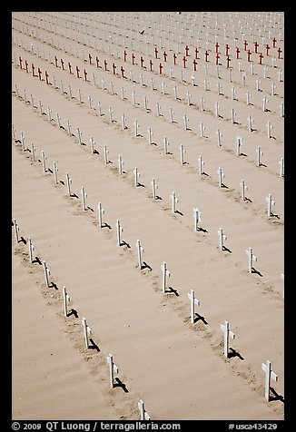Arlington West memorial crosses. Santa Monica, Los Angeles, California, USA (color)