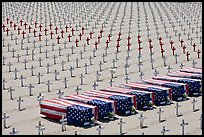 Flag draped coffins and crosses, Santa Monica beach. Santa Monica, Los Angeles, California, USA