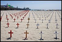 Memorial to fallen soldiers and Santa Monica Pier. Santa Monica, Los Angeles, California, USA (color)