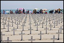 Crosses and beachgoers. Santa Monica, Los Angeles, California, USA