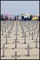 Crosses and beach unbrellas. Santa Monica, Los Angeles, California, USA (color)