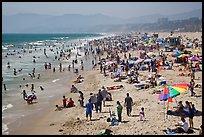 Crowded beach in summer. Santa Monica, Los Angeles, California, USA