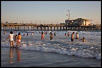 Beach shore and Santa Monica Pier, late afternoon. Santa Monica, Los Angeles, California, USA