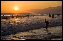 Sunset on beach shore, Santa Monica Beach. Santa Monica, Los Angeles, California, USA