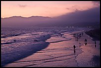 Beach with purple color at sunset. Santa Monica, Los Angeles, California, USA