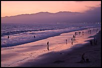 Beach and Santa Monica Mountains at sunset. Santa Monica, Los Angeles, California, USA