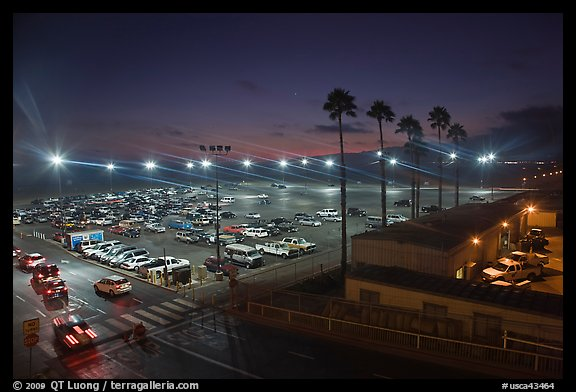 Beach Parking lot at sunset. Santa Monica, Los Angeles, California, USA (color)