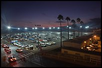 Beach Parking lot at sunset. Santa Monica, Los Angeles, California, USA ( color)