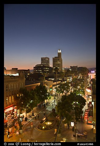 Third Street Promenade and downtown buildings at sunset. Santa Monica, Los Angeles, California, USA (color)