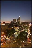 Third Street Promenade and downtown buildings at sunset. Santa Monica, Los Angeles, California, USA ( color)