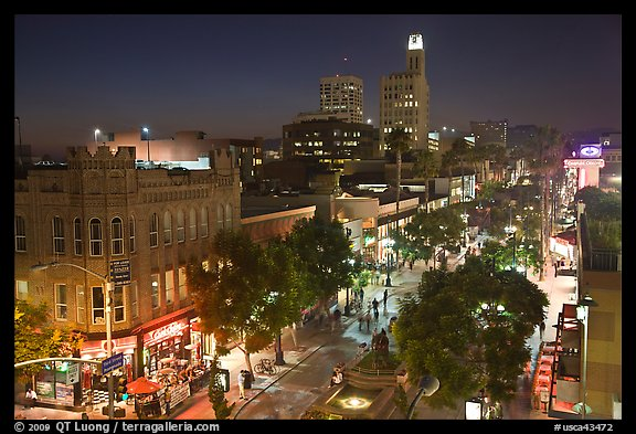 Night view from above of Third Street Promenade. Santa Monica, Los Angeles, California, USA (color)
