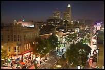 Night view from above of Third Street Promenade. Santa Monica, Los Angeles, California, USA ( color)