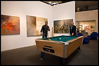 Playing pool inside a contemporary art gallery, Bergamot Station. Santa Monica, Los Angeles, California, USA (color)