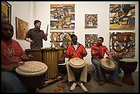 Alan Tarbell, his artworks, and African drums that inspired him, Bergamot Station. Santa Monica, Los Angeles, California, USA (color)