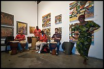 African drums and dance inside art gallery, Bergamot Station. Santa Monica, Los Angeles, California, USA (color)