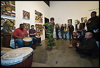 Live music and dance performance in art gallery, Bergamot Station. Santa Monica, Los Angeles, California, USA (color)