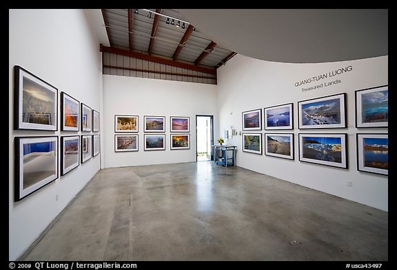 Photographic exhibition in gallery, Bergamot Station. Santa Monica, Los Angeles, California, USA (color)