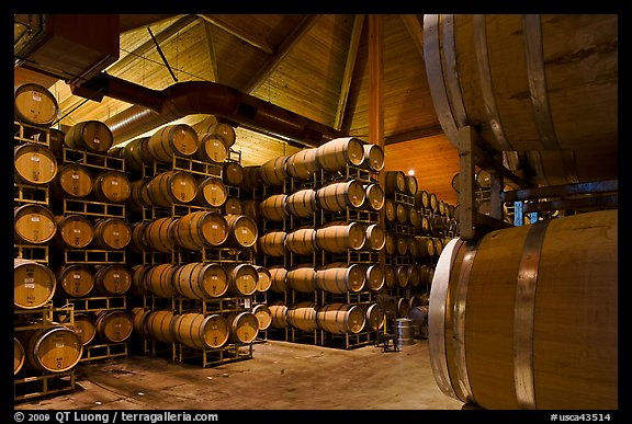 Wine barrels in aging room. Napa Valley, California, USA