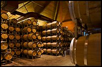 Wine barrels in aging room. Napa Valley, California, USA (color)