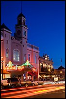 Historic movie theater at night, Sonoma. Sonoma Valley, California, USA (color)