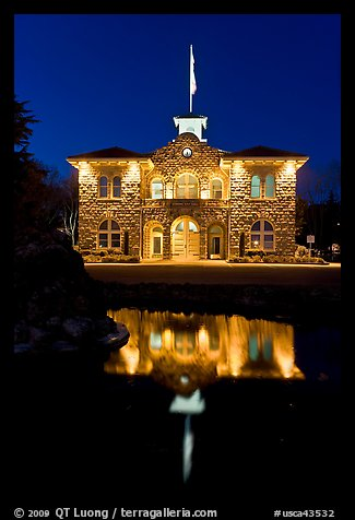 City Hall at night, Sonoma. Sonoma Valley, California, USA (color)