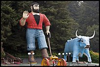 Giant figures of Paul Buyan and cow. California, USA (color)