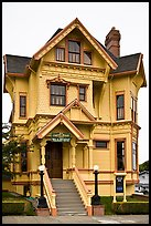 Yellow Victorian house, Eureka. California, USA (color)