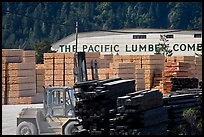 Lumber and forklift, Pacific Lumber Company, Scotia. California, USA ( color)