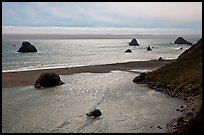 Shimmering ocean and river separated by sliver of sand, Jenner. Sonoma Coast, California, USA ( color)