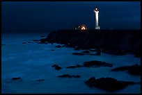 Point Arena Light Station at night. California, USA
