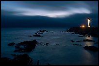 Night coastal scene with ocean and Lighthouse, Point Arena. California, USA