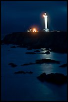Lighthouse and reflection in surf at night, Point Arena. California, USA