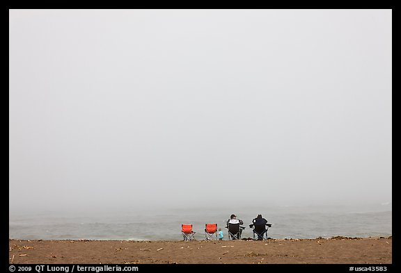 Sitting in front of foggy ocean, Manchester State Park. California, USA (color)