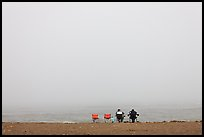 Sitting in front of foggy ocean, Manchester State Park. California, USA ( color)