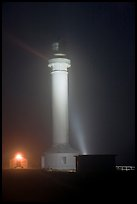Point Arena Lighthouse on foggy night. California, USA ( color)