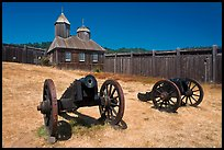 Cannons and chapel, Fort Ross Historical State Park. Sonoma Coast, California, USA ( color)