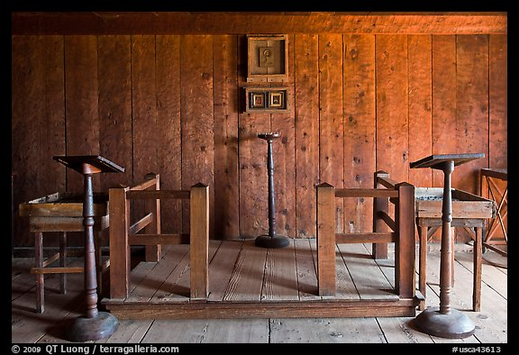 Russian chapel interior,  Fort Ross Historical State Park. Sonoma Coast, California, USA (color)