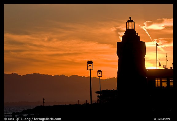 Lighthouse, yacht club, sunrise. San Francisco, California, USA (color)