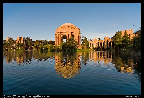 Palace of Fine arts and lagoon, early morning. San Francisco, California, USA (color)