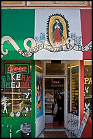 Bakery with colors of the Mexican flag, Mission District. San Francisco, California, USA (color)
