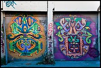 Two painted garage doors, Mission District. San Francisco, California, USA ( color)